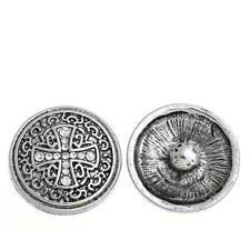 Chunk Snap Buttons Fit Chunk Bracelet Round Antique Silver Cross Pattern Carved