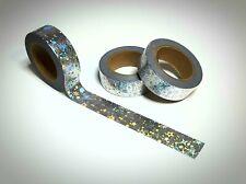 Washi Tape Sample 15mm x 1m Silber Glitzer Holo Nr.16