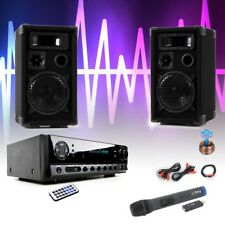 Party Karaoke Anlage Bluetooth USB SD MP3 Verstärker Funk Mikrofon Big Light