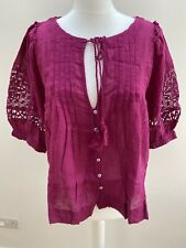 Free People Pocketful of Rainbows Blouse Top. 100% Cotton. Pink. Large. RRP £140