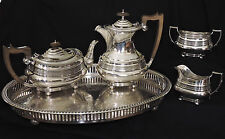 c1845 Neoclassical 5pc silver plate coffee & tea set, sugar, Maple & Co, London