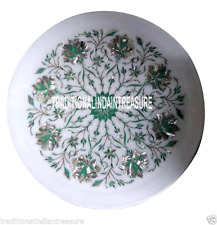"""9"""" White Marble Round Serving Plate Malachite Inlay Marquetry Kitchen Decor Gift"""