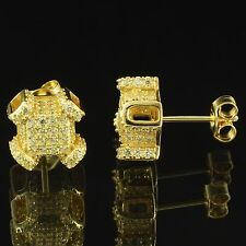 Canary Iced Out Earrings 14k Gold Finish Sterling Silver Simulated Diamonds 10mm