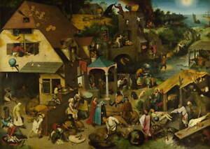 Pieter Bruegel the Elder The Dutch Proverbs Poster Giclee Canvas Print