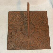 "Vintage Cast Iron Sundial Zodiac Signs Symbol 10.5"" Large Garden Sculpture Decor"