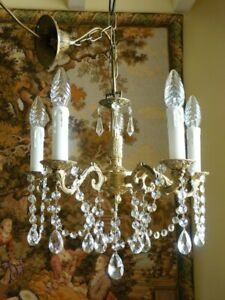 Vintage French Rococo 5 light brass & crystal chandelier ceiling light