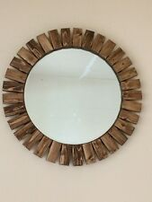 Round Wall Mirror Handmade Wooden Special Walnut Color Sunburst 22""