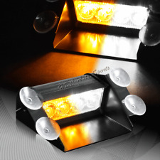 4 LED  Amber & White Emergency Warn Dashboard Windshield Flash Strobe Light Bar
