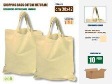 10 Borse shopper cotone naturale cm 38x42 con manico lungo - Shoppers in tessuto