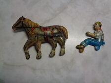 VINTAGE MARX TIN LITHO HORSE & DRIVER PARTS FOR WIND UP WAGON
