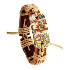 Hippy Friendship Bracelet Flower Peace Leather Personality Adjustable Size