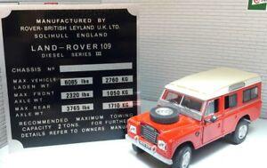 Land Rover Series 3 Bulkhead Gearbox/Transfer Box Information Plate 109 Diesel