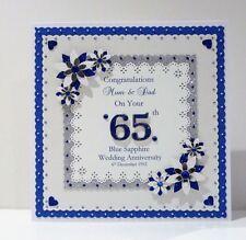 45th/65th Sapphire Wedding Anniversary Card Wife/Husband/MumDad Personalised Lge