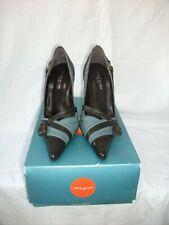 KAREN MILLEN stunning blue denim & dark brown LEATHER court shoes UK 4.5 BNIB