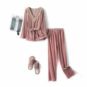 Lounge Wear NEW Sleep Tops Winter Plants Lace Neck Velvet Pajamas Pijamas Ladies