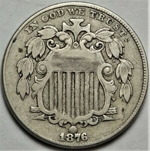 1876 Shield Nickel Choice Very Fine VF 5c Better Date Coin #2