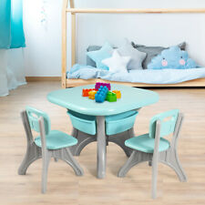 Children Kids Activity Table & Chair Set Play Furniture W/Storage Outdoor/Home