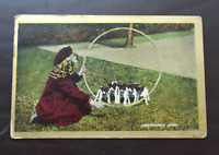 Vintage Postcard - Girl with Hoop 'Jump, Puppies, Jump'! - by Valentines c1920's