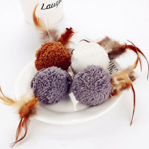 10pcs Pet Game Toy Kitten Cat Plush Ball Toy Play Interactive Funny Chew Squeeze