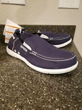 New Men's Crocs Walu Loafer Slip-ons Canvas Shoes Navy Size 11