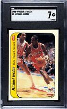 1986 Fleer Sticker Basketball #8 Michael Jordan RC Rookie HOF SGC 7 NEAR-MINT