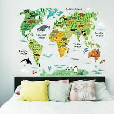 Wandtattoo Karte Wandsticker Wasser Tiere Welt Kinder Wasser Aufkleber lern T9G6