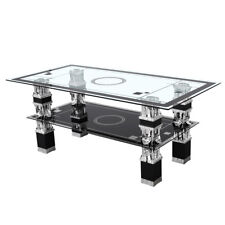 Rectangle Tempered Glass Top Chrome Leg Living Room Coffee Table Lower Shelf