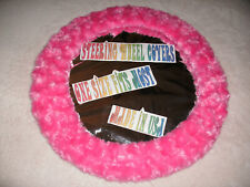 NEW HOT PINK FUZZY SOFT SWIRLS STEERING WHEEL COVER