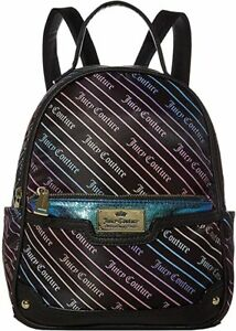 AUTH JUICY COUTURE Backpack Women's Zip Around Black Handbag Logo Purse - SALE