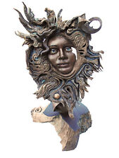 "Woman's Face ""Flare in the Universe"" Feminine Spirit Wood Sculpture US Rick Cain"