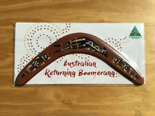 """Australian Made carded 12"""" decorated wood throwing boomerang - Wallaby design"""