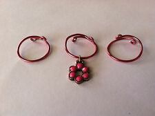 MOTHER'S DAY GIFT MIDI WRAPPED WIRE KNUCKLE RINGS Pink Wire & Flower Set of 3