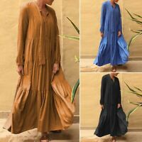 ZANZEA Women Oversize Pleated Long Maxi Dress V Neck Full Length Shirt Dress US