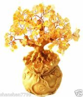Feng Shui Citrine/ Yellow Crytal Money Tree in a Money Bag for Wealth Luck