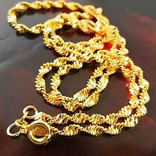 Classic Yellow Gold Filled 9K GF Water Wave Ladies Necklace Chain 450*3mm F2346