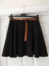 Black Skater Skirt NWT by Miss Blush with Tan Brown Belt Size Small/Medium