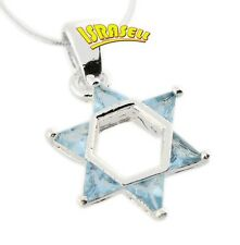 Star of David Necklace - Light Blue Crystals - Jewish Jewelry Gift