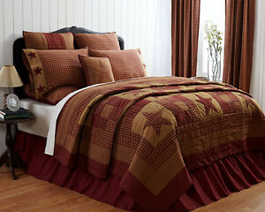 Ninepatch Star Twin Quilt Cotton Quilted Bedspread Red & Tan Patchwork Quilt VHC