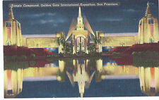 1939 Golden Gate Int'l Expo/GGIE Postcard - Temple Compound Night View
