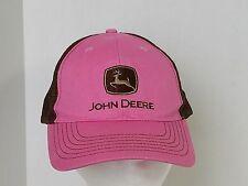 John Deere Pink and Brown Mesh Ball Cap Hat Tractors Farms