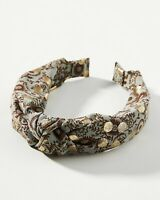 NWT Anthropologie Velvet Burnout Bow Headband Hair Accessory Brown Green Floral