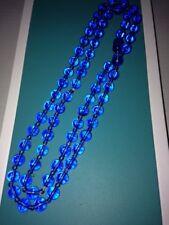 Vintage Antique Peking Blue Glass Bead Necklace