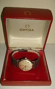 VINTAGE 9 CT GTS 1966 OMEGA  HAND WOUND STRAP WATCH REF 1315016 CAL 601 BOXED