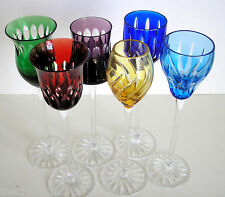 6 AJKA Design Guild multi color cased cut to clear tall wine cordials signed