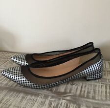 New JCrew Mesh Flats In Metallic Houndstooth F8477 12 Black Silver Shoes NEW