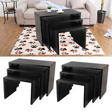 Matte texture Black Coffee Table Modern Design Nest Of Table Living Room UK