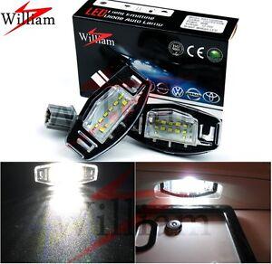2pcs LED License Plate Lights High Power Xenon White For Honda City 2003-2009