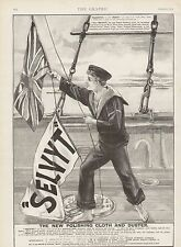 1894 ADVERT SELVYT THE NEW POLISHING CLOTH AND DUSTER SAILOR ROYAL NAVY FLAGS