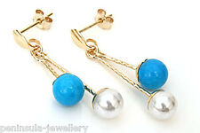 9ct Gold Turquoise and Pearl ball Drop earrings Made in UK Gift Boxed