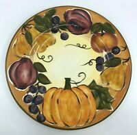 """Tabletops Unlimited HARVEST Dinner Plate 11 1/4""""  Hand Painted Fall Fruit"""